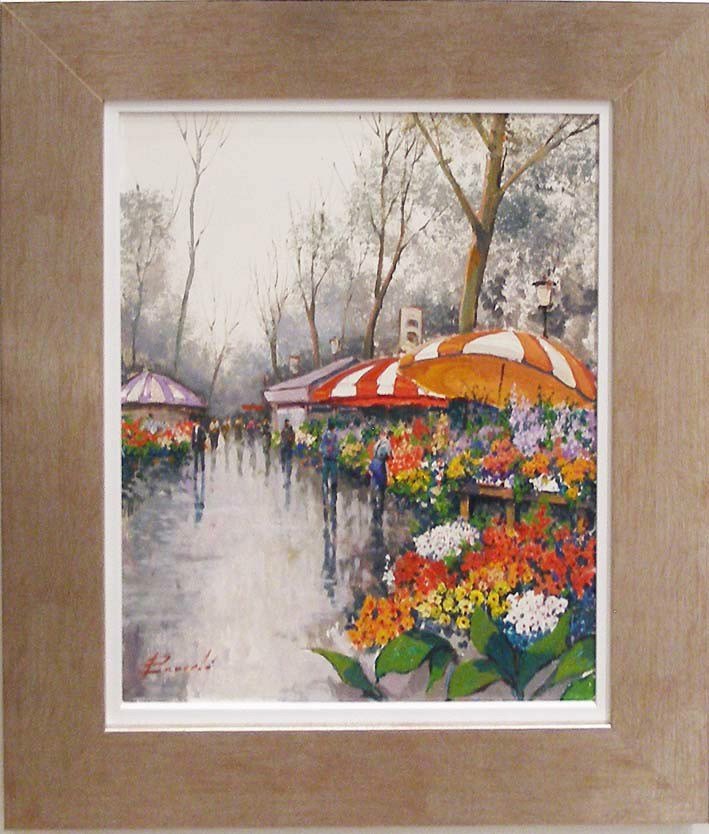 cuadro al oleo de barcelo con marco oil painting with frame