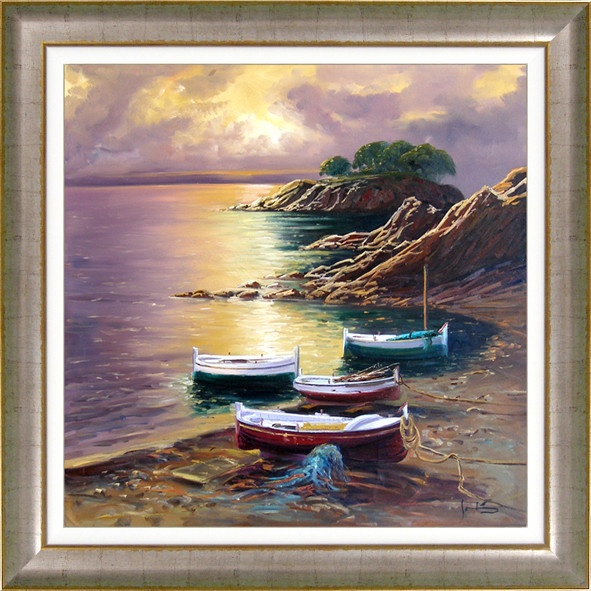 cuadro al oleo de solis con marco oil painting with frame